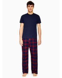TOPMAN - Navy T-shirt And Check Bottoms Loungwear Set - Lyst