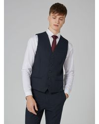 TOPMAN - Navy Textured Waistcoat - Lyst