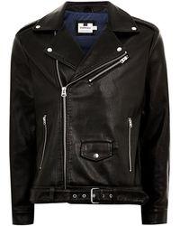 TOPMAN - Faux Leather Oversized Biker Jacket - Lyst