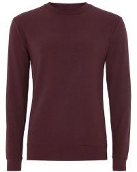 TOPMAN - Burgundy Ultra Muscle Sweatshirt - Lyst