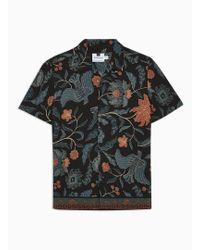 TOPMAN - Black Batik Border Revere Shirt - Lyst