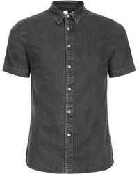 Topman | Grey Muscle Fit Short Sleeve Denim Shirt | Lyst