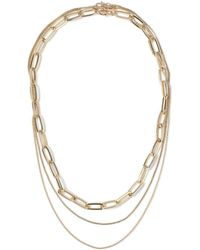 TOPMAN - Gold Multi Row Necklace - Lyst