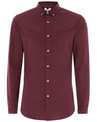 TOPMAN - Burgundy Muscle Fit Oxford Long Sleeve Shirt - Lyst