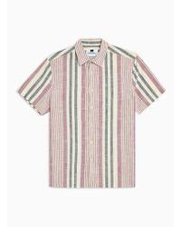 TOPMAN - Burgundy And Stone Woven Stripe Slim Shirt - Lyst