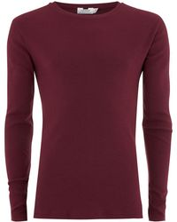 TOPMAN - Burgundy Muscle Fit Ribbed Top - Lyst