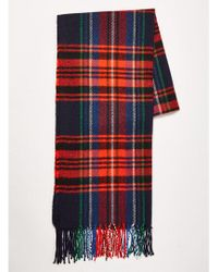 TOPMAN - Navy And Red Check Scarf - Lyst