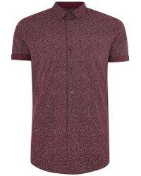 bd0651ec6f447c TOPMAN - Burgundy Line Muscle Fit Short Sleeve Shirt - Lyst
