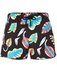TOPMAN - Black Leaf Print Swim Short - Lyst