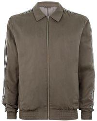 Topman | Khaki Tencel Zip Through Jacket With Side Taping Detail | Lyst
