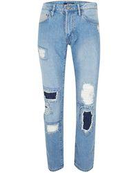 TOPMAN - Waven Light Blue Distressed Regular Fit Jeans* - Lyst