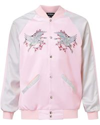 Jaded - Pink And Silver Crane Print Bomber Jacket* - Lyst