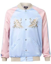 Jaded - Pink And Blue Crane Print Bomber Jacket* - Lyst