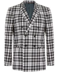 TOPMAN - Locharron X Black And White Tartan Double Breasted Skinny Suit Jacket - Lyst