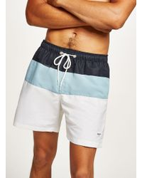Nicce London - Navy, Blue And White Swim Short - Lyst
