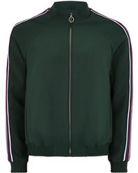 TOPMAN - Green Zip Through Smart Track Top With Taping - Lyst