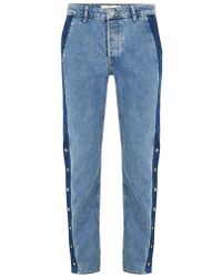 TOPMAN - Blue Straight Fit Jeans With Side Popper - Lyst