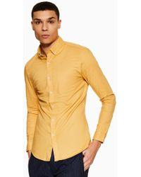 TOPMAN - Ochre Stretch Skinny Oxford Shirt - Lyst