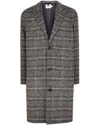TOPMAN - Grey Check Oversized Overcoat - Lyst