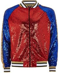 Jaded - Blue, Red And Gold Sequin Bomber Jacket - Lyst