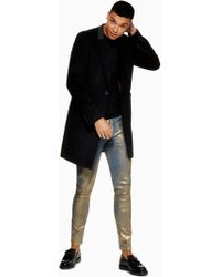 TOPMAN - Gold Coated Stretch Skinny Jea - Lyst