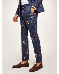 TOPMAN - Navy Tulip Skinny Suit Trouser - Lyst