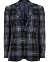TOPMAN - Locharron X Blue And Black Tartan Skinny Suit Jacket - Lyst