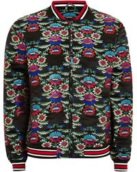TOPMAN - Black Floral Jacquard Bomber Jacket With Embroidery - Lyst