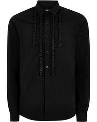 TOPMAN - Black Ruffle Long Sleeve Shirt - Lyst