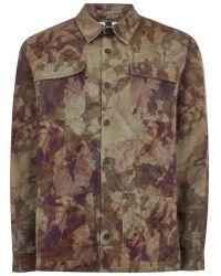 TOPMAN - Khaki Camouflage Long Sleeve Overshirt - Lyst