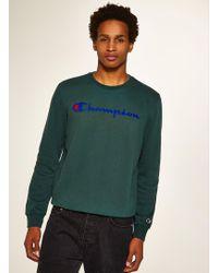 TOPMAN - Champion Green 'corporate' Sweatshirt - Lyst