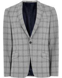 TOPMAN - Black And White Check Neppy Muscle Fit Suit Jacket - Lyst