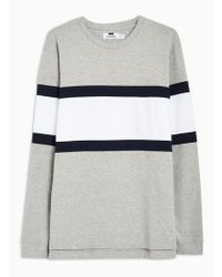 TOPMAN - Grey And Navy Panelled T-shirt - Lyst