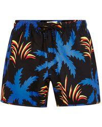 TOPMAN - Black Palm Print Swim Short - Lyst