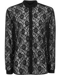 Topman | Black Muscle Lace Shirt | Lyst