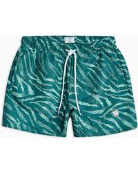 9d481f415c TOPMAN Navy Leaf Print Swim Shorts in Blue for Men - Lyst