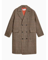 TOPMAN - Brown Check Double Breasted Overcoat - Lyst