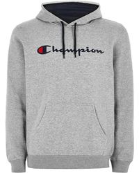 TOPMAN - Champion Grey 'corp' Logo Hoodie - Lyst