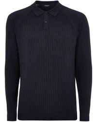 TOPMAN - Elected Homme Navy Ribbed Polo - Lyst