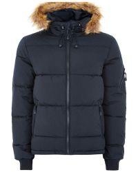 TOPMAN - Navy Hooded Puffer Jacket - Lyst