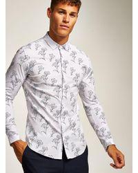 TOPMAN - White Stencil Floral Long Sleeve Shirt - Lyst