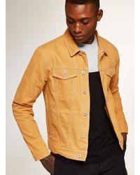 TOPMAN - Mustard Contrast Stitch Denim Jacket - Lyst