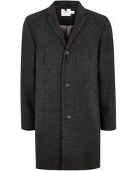 TOPMAN - Gray Textured Overcoat With Wool - Lyst