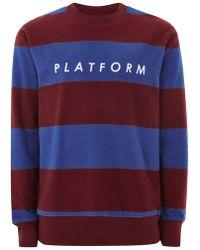 TOPMAN - Burgundy And Blue Stripe Sweatshirt - Lyst