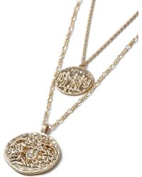 TOPMAN - Gold Coin Multirow Necklace - Lyst