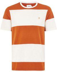 TOPMAN - Farah Orange Striped 'woolacombe' T-shirt - Lyst