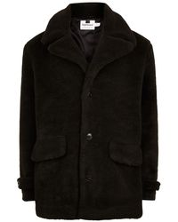TOPMAN - Black Faux Fur Pea Coat - Lyst