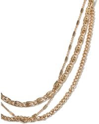 TOPMAN - Gold Multirow Chain Necklace - Lyst