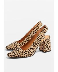 TOPSHOP - Gainor Leopard Print Slingback Shoes - Lyst