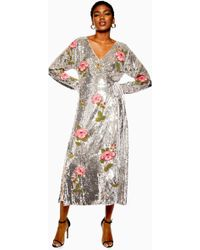 TOPSHOP - Wickelkleid mit Blumenmuster aus Perlen und Pailletten - Lyst